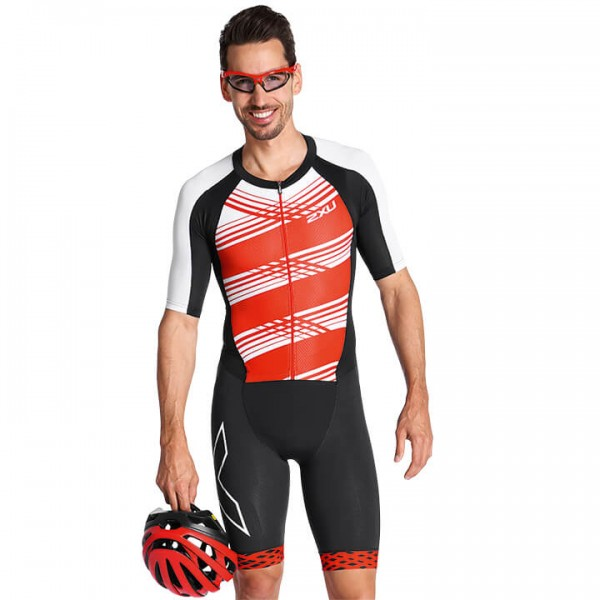 2XU Tri Suit Compression zwart - rood U4032N6308